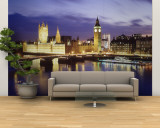 Buildings Lit Up at Dusk, Big Ben, Houses of Parliament, London, England Vægplakat, stor