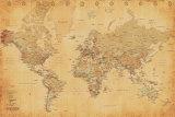 Mapa del mundo, Vintage Póster
