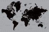 Carte du monde contemporaine en noir et gris Posters