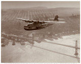 China Clipper in Flight over San Francisco, California 1939 Art by Clyde Sunderland