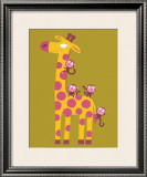 The Giraffe and the Monkeys Art by Nathalie Choux