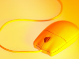 Computer Mouse and Cord in Yellow Tint Photographic Print
