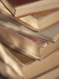 Stack of Old and Dusty Hardcover Books Photographic Print