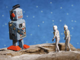 Small Plastic Astronaut Figurines Meeting Space Robot Photographic Print