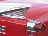Tail Lights and Fin of Antique Red Car Photographic Print