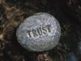 Stone with Word Trust in Water of Tranquil Stream Lmina fotogrfica