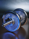 Close-Up Studio Shot of a Steel Weightlifting Dumbbell Photographic Print