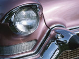 Chrome Headlight in Antique Pink Car Photographic Print
