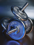 Close-Up of Steel Weightlifting Dumbbells Photographic Print