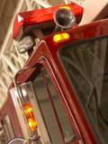 Red Fire Truck with Light and Horn Photographic Print