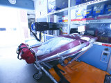 Inside of Ambulance with Medical Supplies Photographic Print