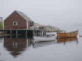 Rowboats Moored at Dock in Fishing Village Inlet, Maritimes, Canada Photographic Print