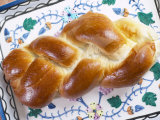 View of Jewish Challah Bread on Plate Photographic Print