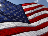 Close-Up of the Graceful American Flag Flowing in the Wind in the Usa Photographic Print