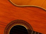 Close-Up of Body and Strings of Wooden Acoustic Guitar Photographic Print