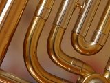 Close-Up of Shiny Brass Tubes of Trombone Photographic Print