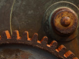 Close-Up of Rusty Steel Cogs and Gear Photographic Print
