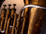 Close-Up of Shiny Brass Tubes of Tuba Photographic Print