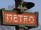 Close-Up of Outdoor Sign for the Metro in Paris, France Photographic Print