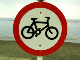 Bicycling Sign by Ocean Photographic Print