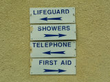Beach Signs Pointing Different Directions Photographic Print