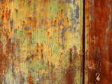Old Weather Worn Metal Doors Covered in Decaying Rust and Lime Photographic Print