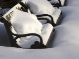 Park Benches Covered in Deep Winter Snow Photographic Print