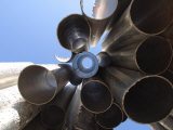 Looking Up Through Hallow Metal Pipes Towards the Sky in Helsinki, Finland Photographic Print