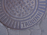 Manhole Cover Labeled Tallinn Photographic Print