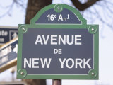 Street Sign for Intersection of Avenue De New York in Paris, France Photographic Print
