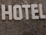 Rocky Hotel Sign Photographic Print