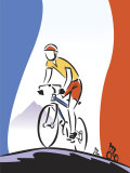 French Flag by Cyclist Racing Photo