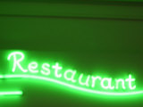 Neon Green Restaurant Sign Photographic Print