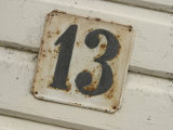 Number 13 Plaque on an Exterior Wall Photographic Print