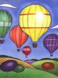 Hot Air Balloons over Farmland Print