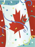 Confetti Floating by Canadian Flag on Canada Day Poster