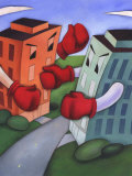 Angry Buildings Boxing Each Other across Street Prints