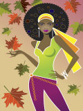 Woman in Retro Autumn Fashion Print