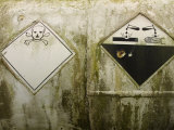 Danger Signs on Corrosive Chemical Tank Photographic Print