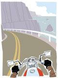Motorcycle Rider on Coastal Highway Prints