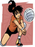 Volleyball Player Reaching for Ball Posters