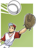 Boy Reaching Out to Catch Baseball Prints