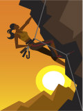 Woman Rock Climber Scaling Cliff at Dawn Prints