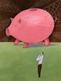 Man with Giant Piggy Bank Poster