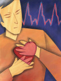 Man Clutching Chest with Heart and Ekg Sine Waves Affiches