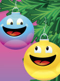 Smiling Christmas Ornaments on Tree Poster