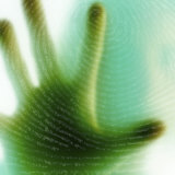 Hand Against Fingerprint on Glass Photographic Print
