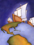 Ships of Christopher Columbus Sailing on Earth Poster