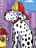 Dalmatian Dog with Helmet by Fire Hydrant Prints