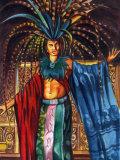 Man Dressed in Flamboyant Costume Prints